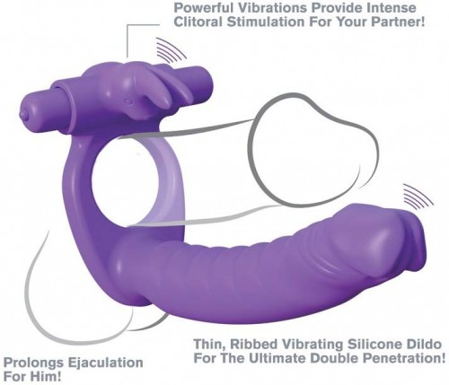 Fantasy C-ringz Silicone Double Penetrator Rabbit - Purple