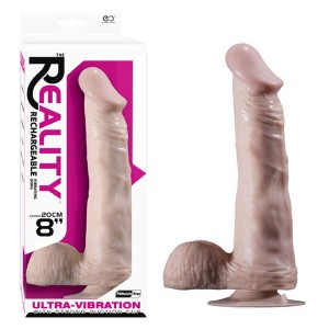 """Realistic N0 3 Rechargeable Vibrating Dong 8"""" Flesh"""