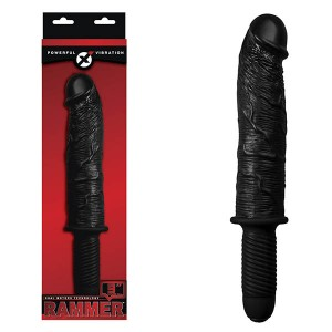 Rammer 9in Black Vibrating Dong with Handle