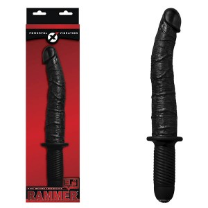 Rammer 9.5in Black Vibrating Dong with Handle