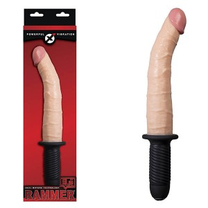 Rammer 9.5in Flesh Vibrating Dong with Handle