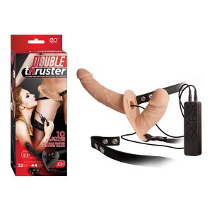 Double Thruster - Flesh Dual Vibrating Strap-On