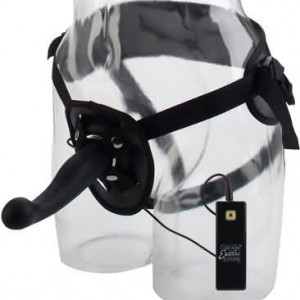 G Kiss 10 Function Silicone Love Rider Harness Set  Black