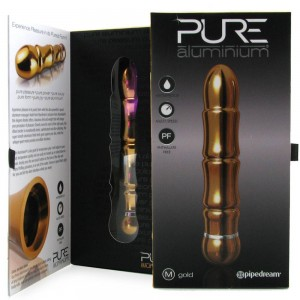 Pure Aluminium Medium Vibe Gold - see also real feel dildos and jack rabbit vibrators - sex toys for women.