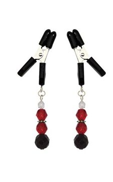 Spartacus Adjustable Broad Tip Red Beaded Clamps - get your fetish gear adult toys online today.