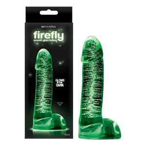 Firefly Glass Glow In The Dark Smooth Ballsey 4in Dildo