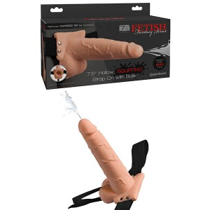 Fetish Fantasy 7.5in Flesh Hollow Squirting Strap-On with Balls