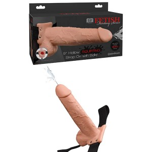 Fetish Fantasy 9in Flesh Hollow Squirting Strap-On with Balls